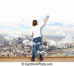 homem jovem, com, pintar escova, e, paisagem natureza