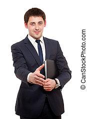 homem jovem, dar, aperto mão