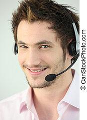 homem jovem, desgastar, um, headset