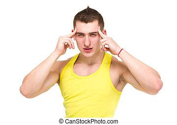 homem, jovem, dor de cabeça