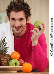 homem jovem, e, frutas
