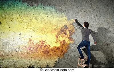 homem jovem, e, paisagem, ligado, parede