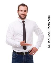homem jovem, em, camisa branca, mostrando, vazio, copyspace