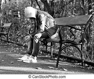 homem jovem, em, depressão