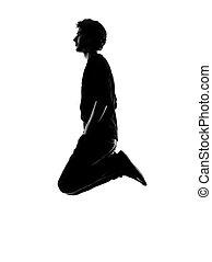 homem jovem, engraçado, pular, silueta