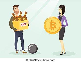 homem jovem, escolher, tax-free, pagamento, por, bitcoins.