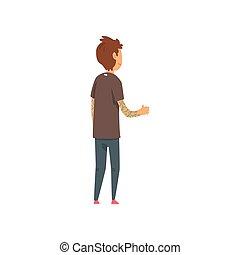 homem jovem, esperando ansiosamente, para, algo, vista traseira, vetorial, ilustração, ligado, um, fundo branco