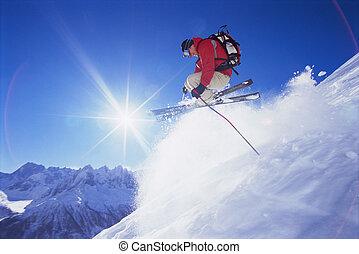 homem jovem, esquiando