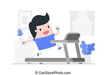 homem jovem, home., treadmill, executando