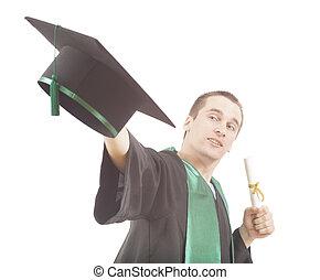 homem jovem, jogar, boné graduação, ar