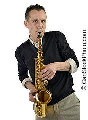 homem jovem, jogo saxophone