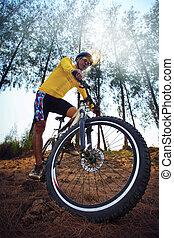 homem jovem, montando, bicicleta montanha, mtb, em, selva,...
