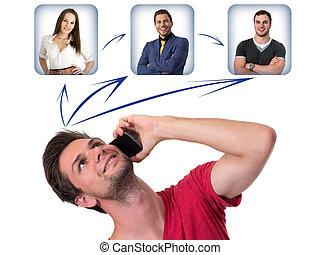 homem jovem, networking, telefone
