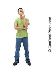 homem jovem, pensando, aproximadamente, um, problema