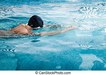homem, jovem, piscina, natação