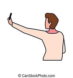 homem jovem, posição, fundo branco, costas