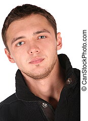 homem jovem, rosto, close-up