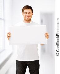 homem jovem, segurando, branca, em branco, tábua