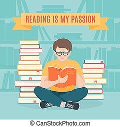 homem jovem, sentando, ler, seu, favorito, livro, .