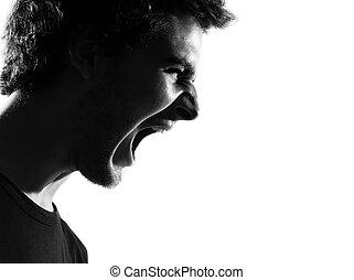homem jovem, silueta, gritando, zangado, retrato