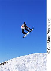 homem jovem, snowboarding