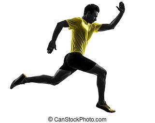 homem jovem, sprinter, corredor, executando, silueta
