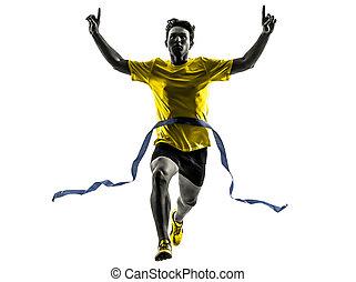 homem jovem, sprinter, corredor, executando, vencedor, linha...