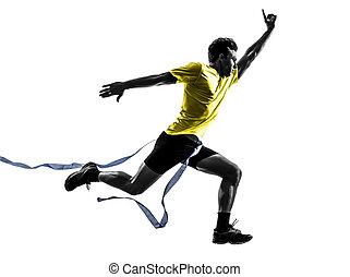 homem jovem, sprinter, corredor, executando, vencedor, linha acabamento, silueta