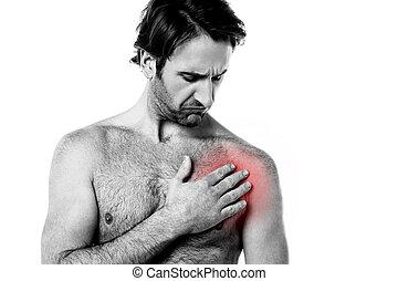 homem jovem, tendo, dor tórax