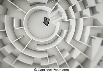 homem, labirinto, negócio