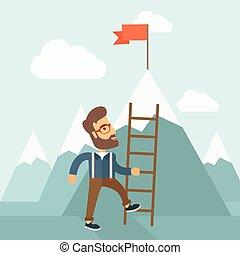 homem, ladder.