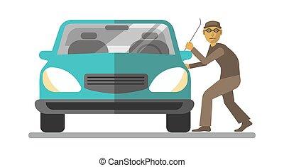 homem, ladrão, quebrar, porta carro, isolado, branco