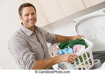 homem, lavanderia