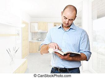 homem, ler, um, livro