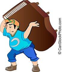 homem, levantamento, ilustração, piano