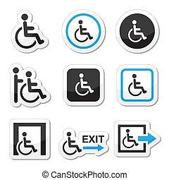 homem, ligado, cadeira rodas, incapacitado, ícones
