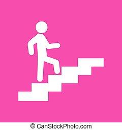 homem, ligado, escadas, ir, cima., branca, ícone, em,...