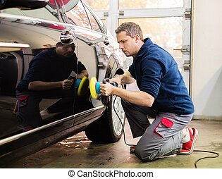 homem, ligado, um, lavagem carro, polimento, car, com, um,...