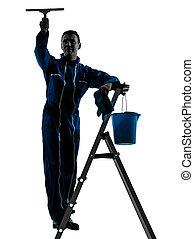 homem, limpador janela, silueta, trabalhador, silueta