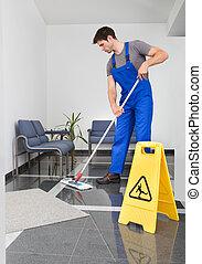homem, limpeza, a, chão