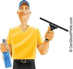 homem, limpeza, janela, rodo, pulverizador