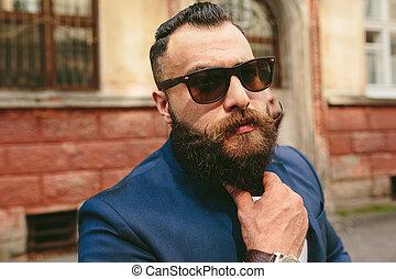homem, longo, jovem, barba