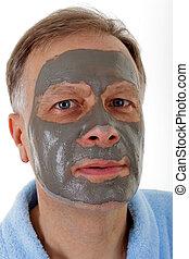 homem, máscara, acial
