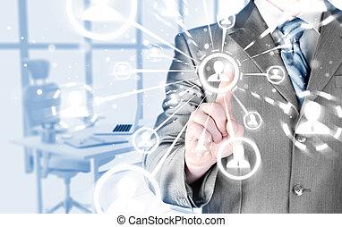 homem, mão, apertando, social, mídia, ícone