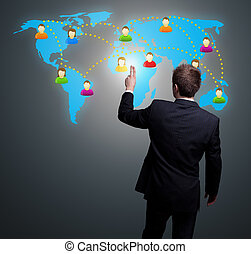 homem, mão, apertando, social, rede, ícone