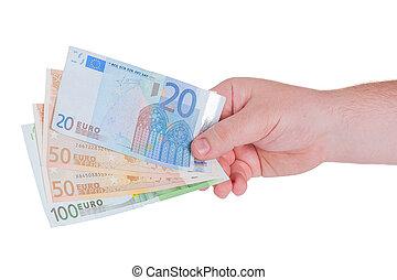 homem, mão, com, dinheiro