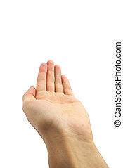 homem, mão, isolado, branco, fundo