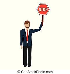 homem, mão, parada, sinal negócio