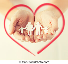 homem, mãos, papel, família, womans