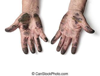 homem, mãos sujas